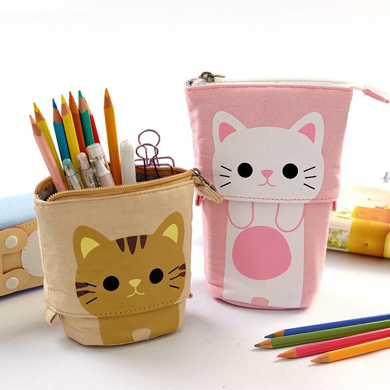 Гибкий чехол для карандашей с большой кошкой, школьные принадлежности из ткани, канцелярские принадлежности, школьный подарок, милый пенчехол, пенал, пенал