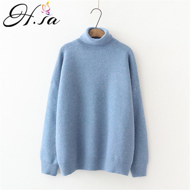 H.SA 2020 Women Winter Turtleneck Sweaters Warm Thick Solid Pullover Cashmere Jumpers Soft Casual Knitwear Sweater Pull Femme