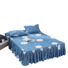 Fitted-Sheet Cover Skirts Bedspread Ruffle with for Twin Full-Queen-King 7-Color