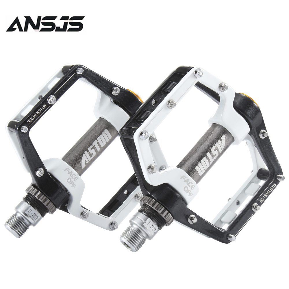 "Ansjs Road Bicycle MTB Aluminum Strong Pedal,Super Powerful CR-MO 9/16"" Spindle, Three pcs Ultra Sealed Bearings FACE Off Pedals"