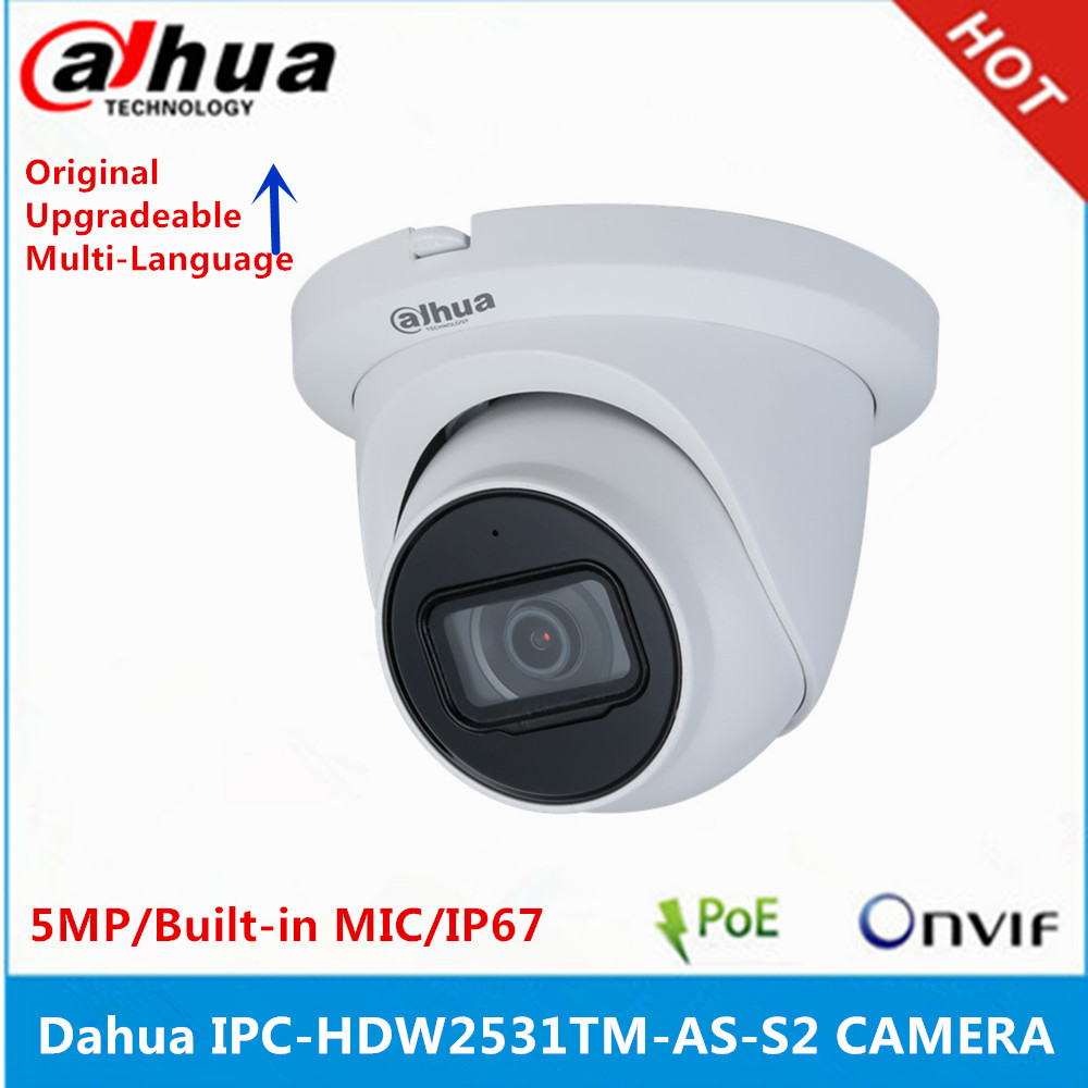 Dahua IPC HDW2531TM AS S2 5MP POE встроенный микрофон и слот для sd карт H.265 IR 30M IVS WDR Onvif IP67 Starlight ip
