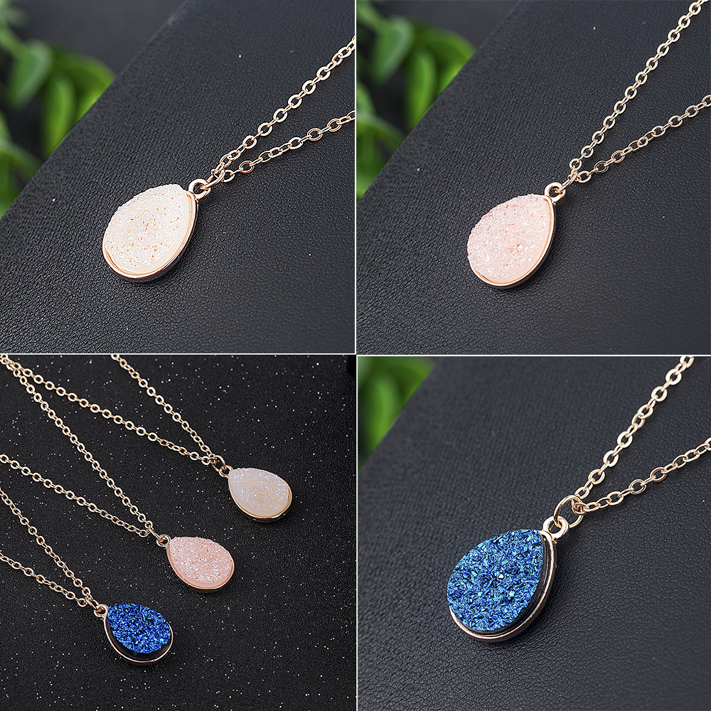 Collier Femme Charm Drop shape Stone Necklaces & Pendants for Women Crystal Bud Necklace Fashion Jewelry Kolye Collares 8