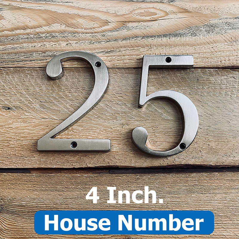 "Satin Nickel 4"" 101mm Height House Number Door Address Number Digits Zinc Alloy Screw Mounted Big Mailbox Address Sign #0-9"