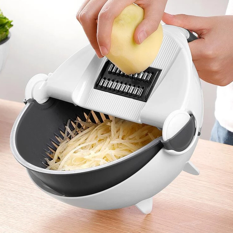 Magic Multifunctional Rotate Vegetable Cutter With Drain Basket Kitchen  Veggie Fruit Shredder Grater Slicer Drop Shipping| | - AliExpress