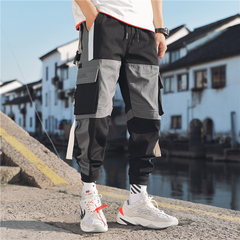Men/'s Multi Pockets Cargo Harem Pants Hip Hop Casual Male Track Pants Joggers Trousers Fashion Harajuku Hipster Streetwear Pants