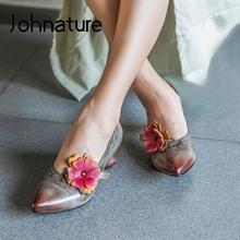 Shoes Retro Genuine-Leather Johnature Pumps Women Pointed-Toe Casual Slip-On Flower Strange-Style