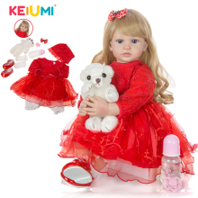 KEIUMI Girl Doll Vinyl Cloth-Body Reborn Baby 60cm 24inch Boneca Soft Best-Playmate Lifelike