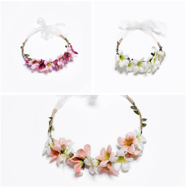 Baby Hair Band Artificial Flower Headband Multicolor Lilac Garland Birthday Party Headdress Newborn Baby Photography Props