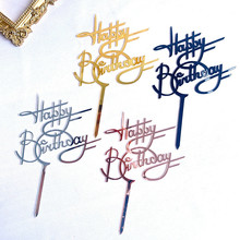 Cake-Topper Dessert Gift Acrylic Happy-Birthday Kids Golden Party for Celebrate
