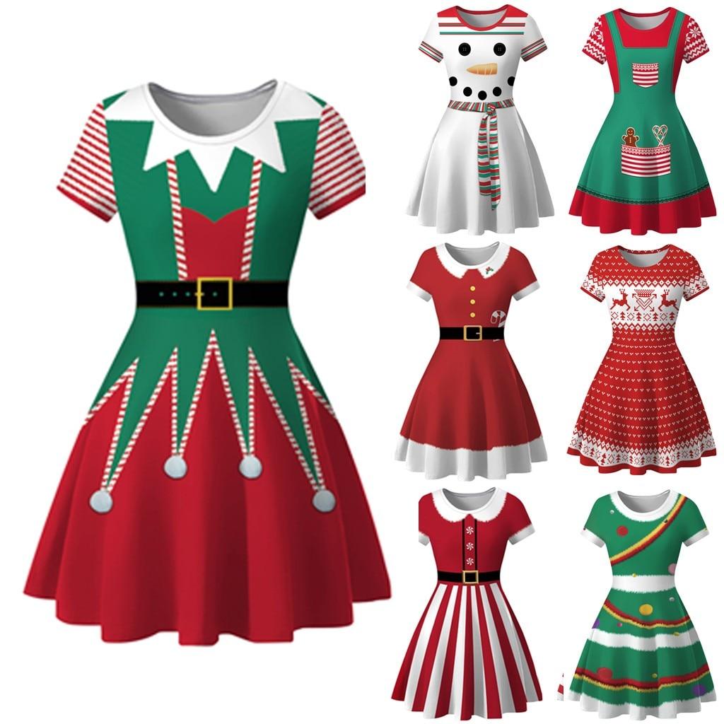 New Womens Plus Size Swing Top Ladies Tunic Christmas Tree Unicorn Snowman Print