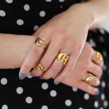 Vintage Punk Open Joint Knuckle Letter Ring for Women Girl Personality a b c d e f f