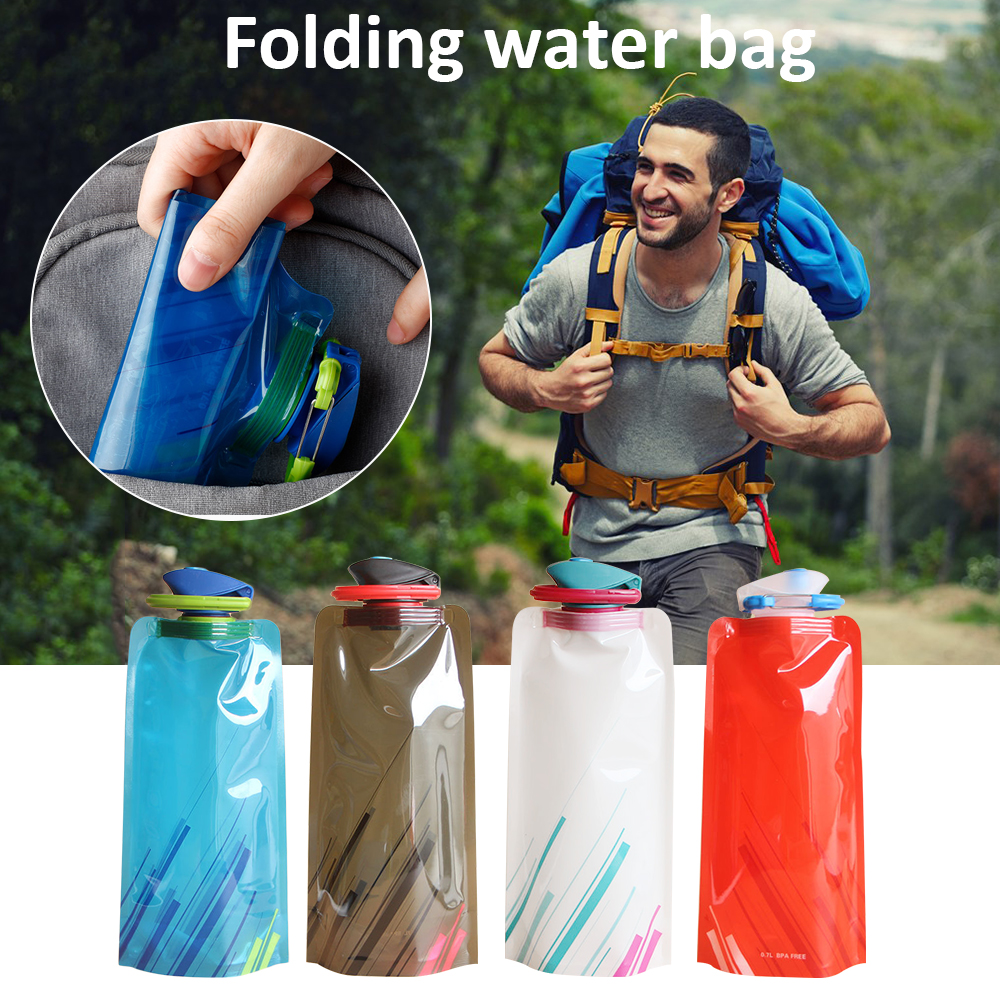 Water-Bottle-Bags 700ml Foldable Collapsible Outdoor Sports Camping for Hiking Environmental-Protection title=