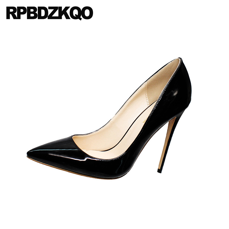 pointed toe 12cm 5 inch luxury brand shoes women extreme ladies pumps big size plus scarpin high heels thin ultra 13 45 stiletto