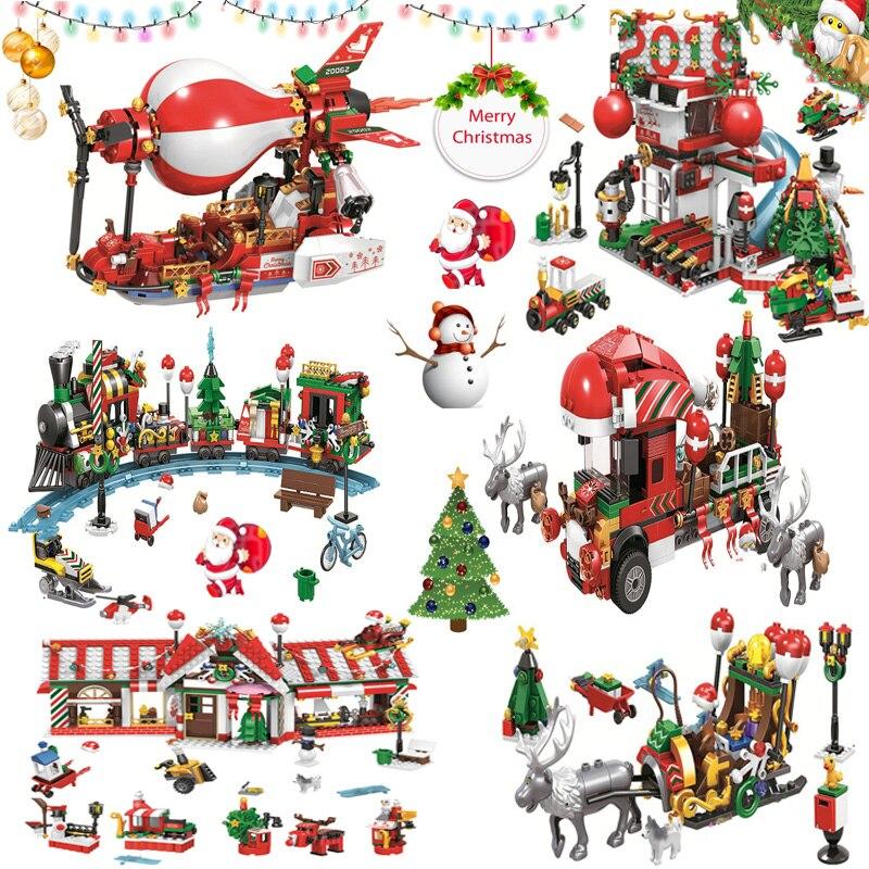 Creator Winter Village Legoing Christmas Sets Building Blocks Compatible Legoeds City Train Bricks Santa Claus Figures Toys Gift