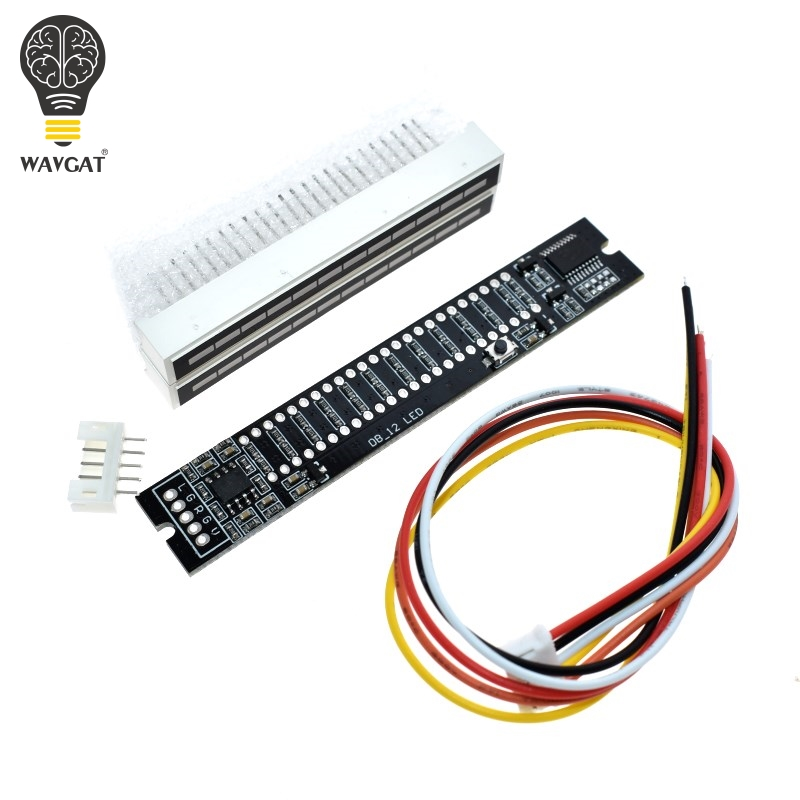 WAVGAT Mini Dual 12 Level indicator VU Meter Stereo Amplifier Board Adjustable light Speed Board With AGC Mode Diy KITS