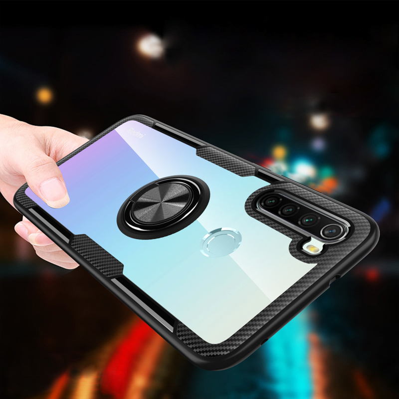 For Xiaomi Redmi Note 8 Case Magnetic Car Ring Holder Shockproof Transparent PC TPU Bumper Back Cover for Redmi Note8 Pro Cases
