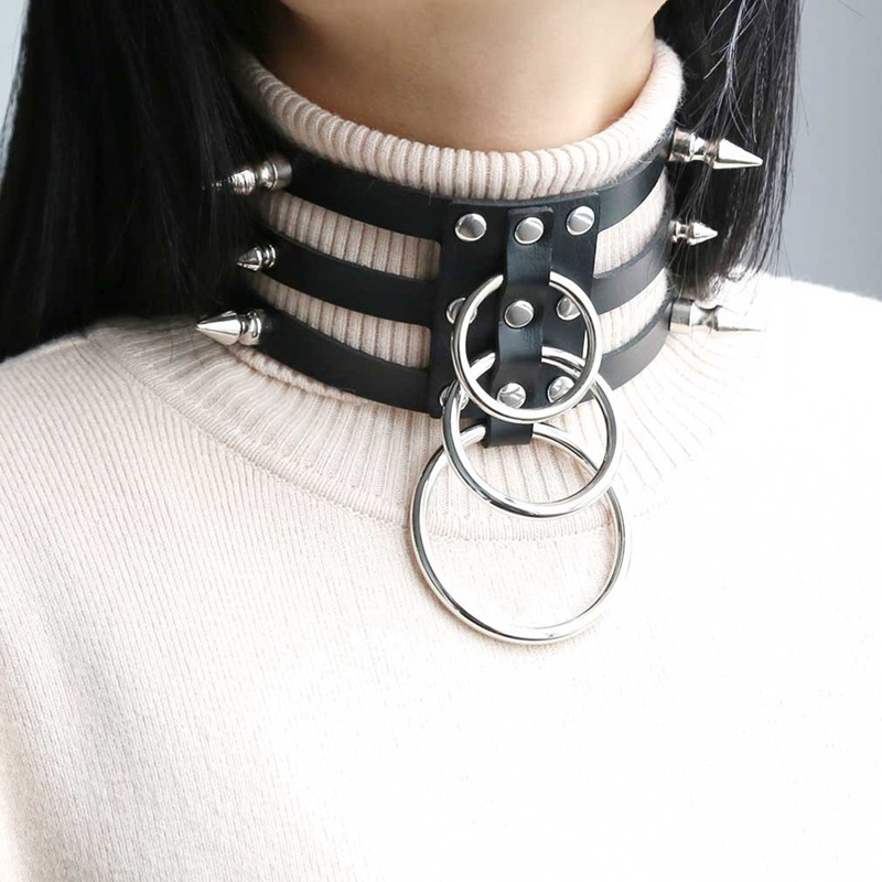 O-Round Punk Rock Gothic Chokers Women Men Leather Rivet Stud Collar Choker Necklace Statement Jewelry