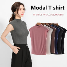 tank top women t shirt turtleneck Women's Vest 2020 Summer fashion Modal Sleeveless Underwear T-shirt High Collar Base Shirt(China)
