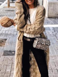 Berrygo Winter Cardigans Jumpers Knitwear Pocket Women Sweaters Long-Sleeve Mohair Female