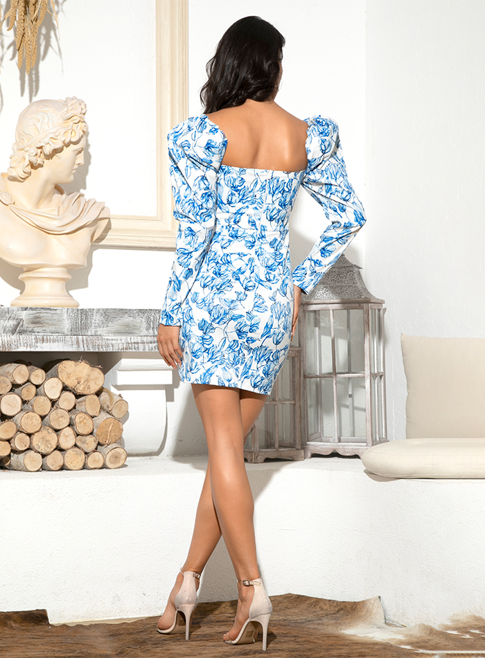 LOVE&LEMONADE Sexy Tube Top Blue Flower Vine Print Puff Sleeve Cross Bodycon Party Mini Dress LM81982-1 7