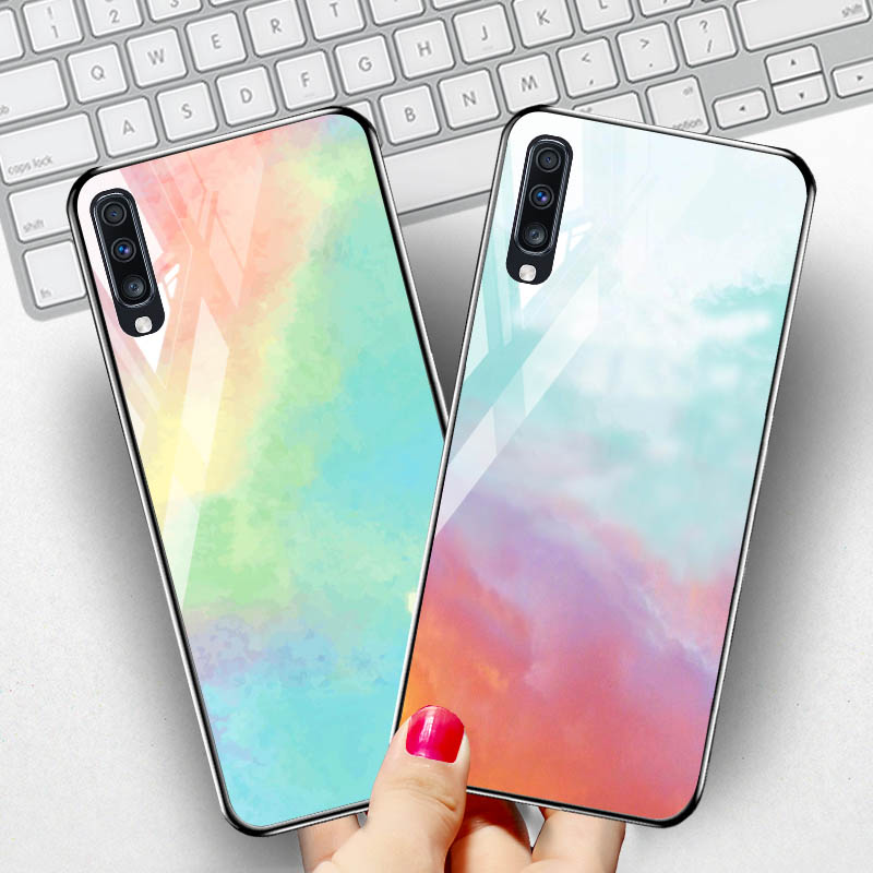 Tempered Glass Case For Samsung A90 A80 A10 Case Silicone Phone Case for Samsung Galaxy Note 10 Pro Cover Funda Capa