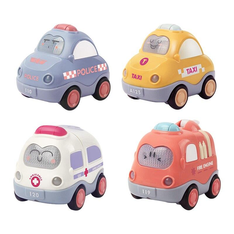 4 шт./лот, детская игрушечная машинка для 1 года, подарок на день рождения для малышей, игрушки с мультяшным автомобилем для 2 лет, мальчики, дети, обучение, образование