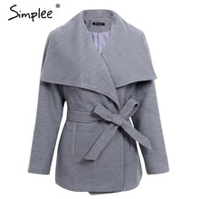 Simplee Wool blend sashes winter coat women Casual wool jacket female coat autumn Loose turn down short overcoat femme 2017(China)