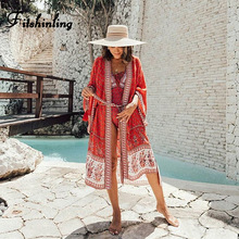 Cover-Up Swimwear Beach Kimono Summer Long-Cardigan Bohemian Sexy Floral Holiday Print