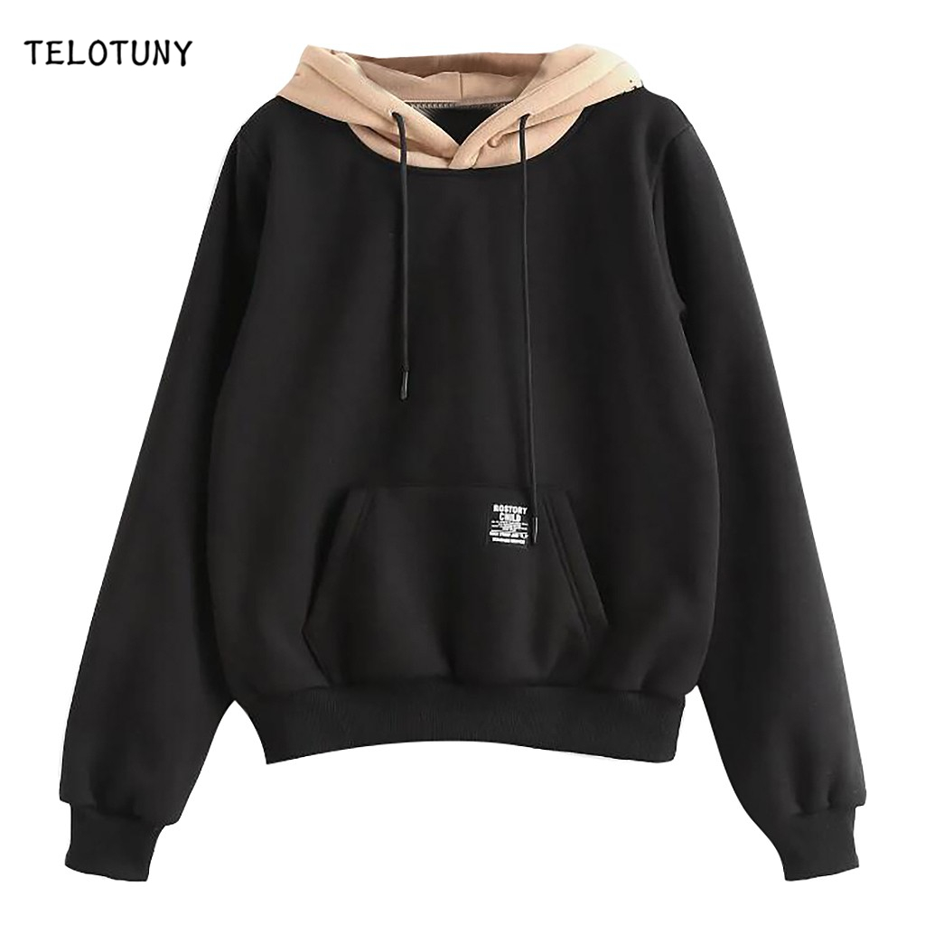 TELOTUNY Long Sleeve Patchwork Women Hoodies With Pocket Fashion Casual Pullover Tops Strappy Sweatshirt Winter Coat Top 19L0723