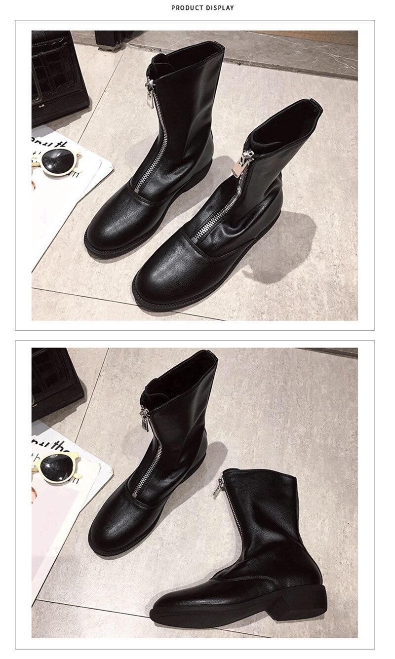Winter Autumn Women Ankle Boots Punk Front Zipper Ladies Shoes PU Leather Boots Women Low Heels Female Shoes Pump Botas Mujer (4)