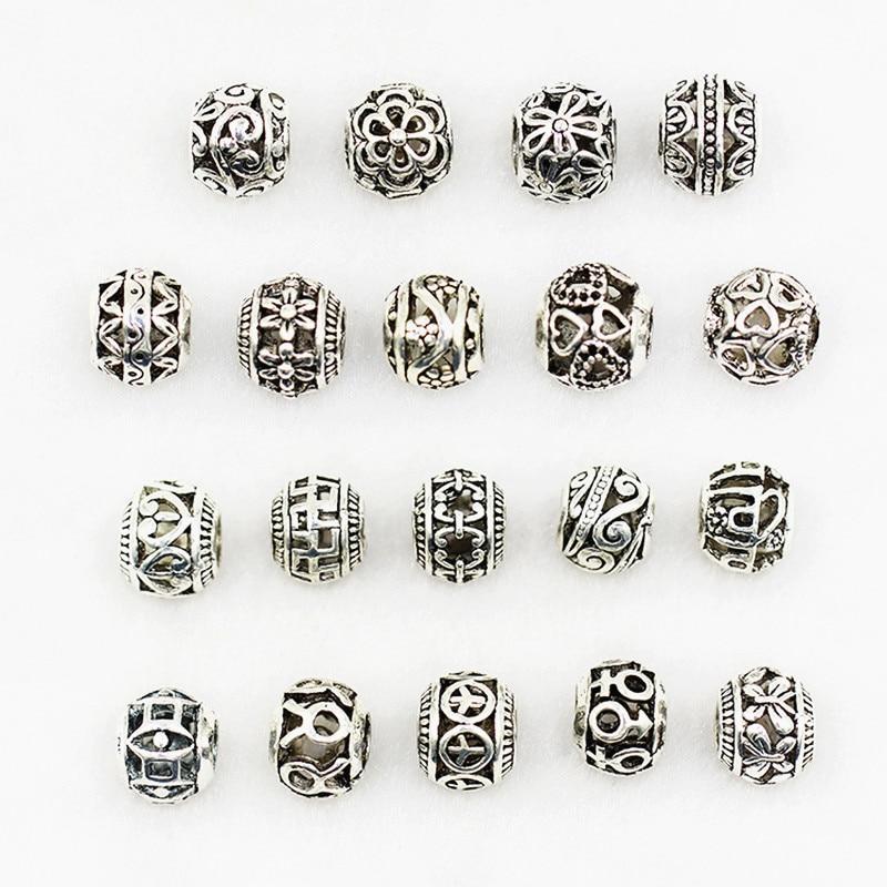 10 Pcs Tibetan Silver Round Fillgree Spacer Beads DIY Craft Findings 10mm