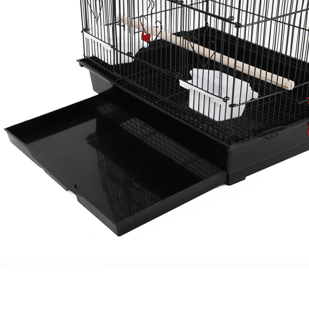 """Kennel - 37"""" Bird Parrot Cage Canary Parakeet Cockatiel LoveBird Finch Bird Cage with Wood Perches & Food Cups Black"""