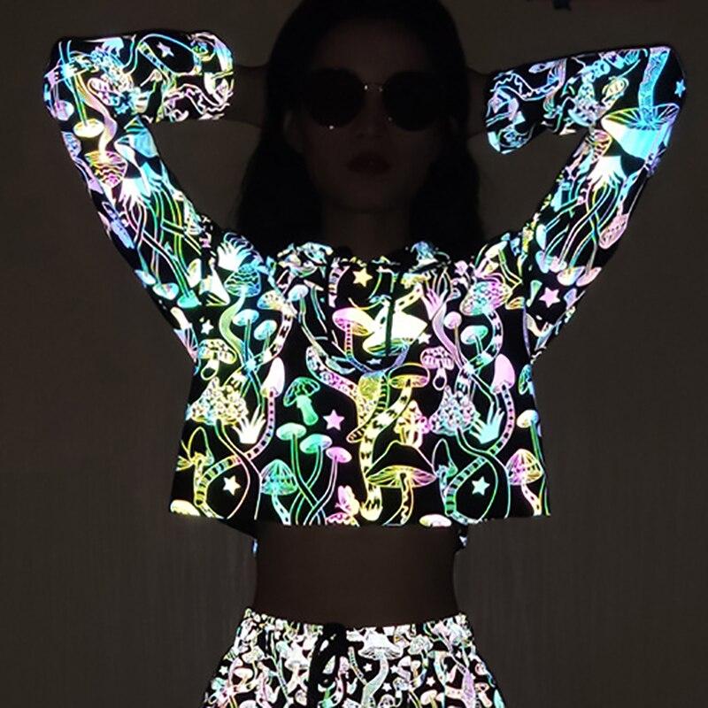2019 New Mushroom Reflective Hoodies Women 2019 Brand Sweatshirt Womens Hoodies Hip Hop Pullover Jacket Femme Autumn Tracksuits
