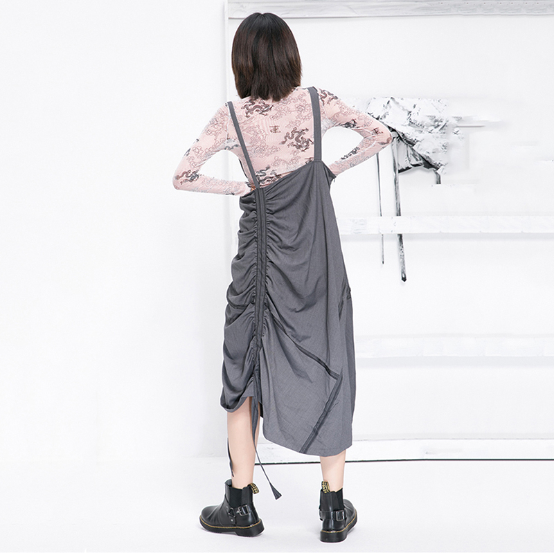 Korea High Waist Gray Asymmetrical Pleated Split Temperament Half-body Skirt Women Fashion Tide New Spring Autumn 2020 1N695