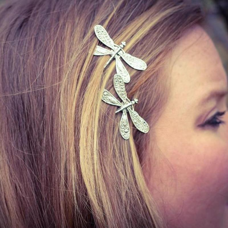 Ancient Vintage Silver Color Dragonfly Hairpin Insect Shape Headdress Style Hair Clip Wedding Hair Bridal Accessories