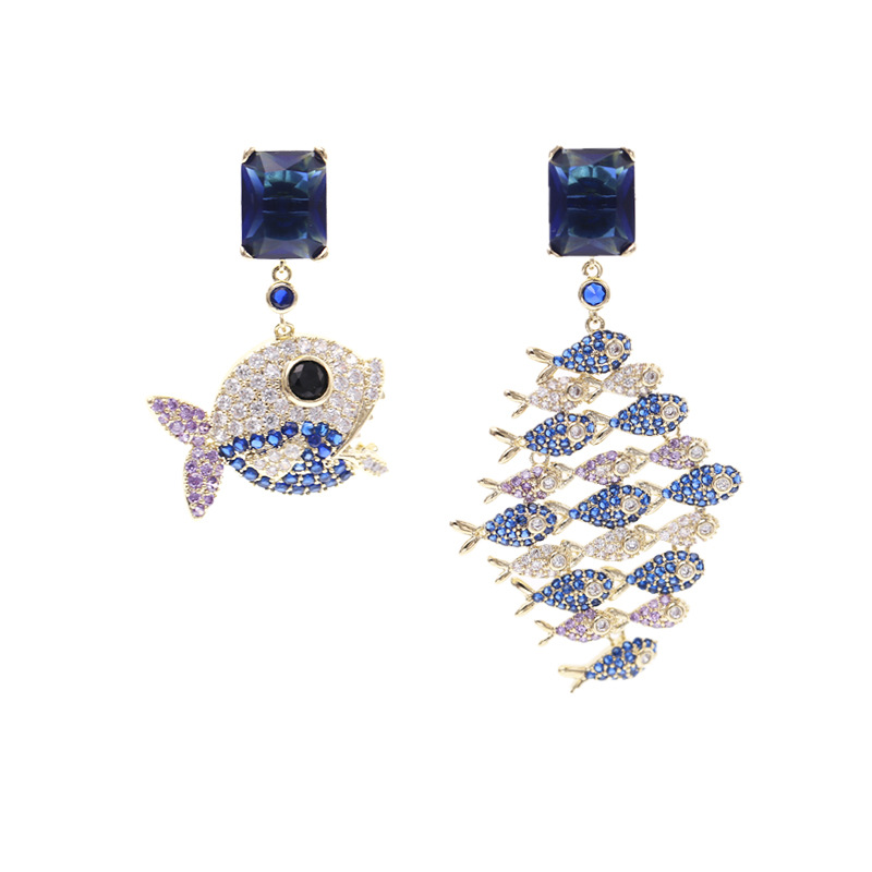 Women/'s earrings Emerald earing Diamond earings zircon 925 silver pin earrings with stones Fashion AB big fish eating smallE0610