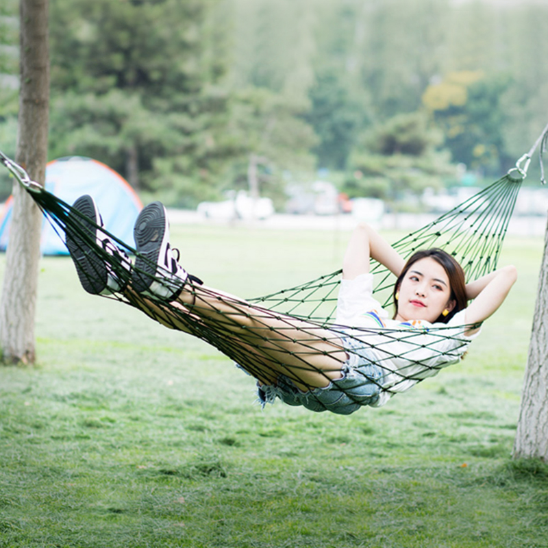 Camping Hammock Hamaca For Outdoor Travel Portable Garden Hamak Nylon Sleeping Bed Hanging Chair Mesh Net Hamac Leisure Hiking