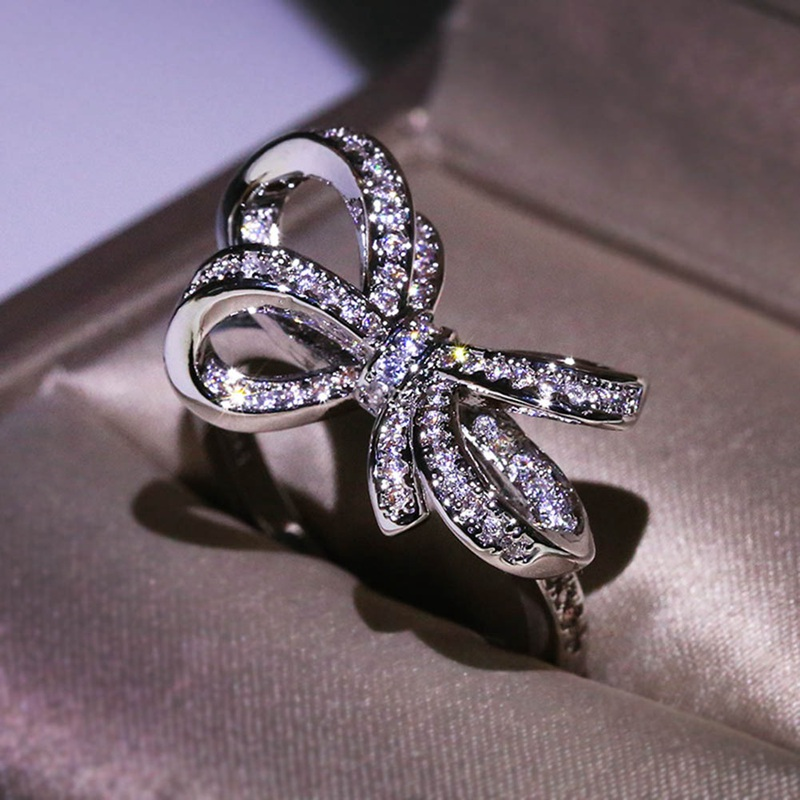 White Crystal Rings for Women Bow Cubic Zirconia Jewelry Rhinestone fashion silver Ring Stones Valentine