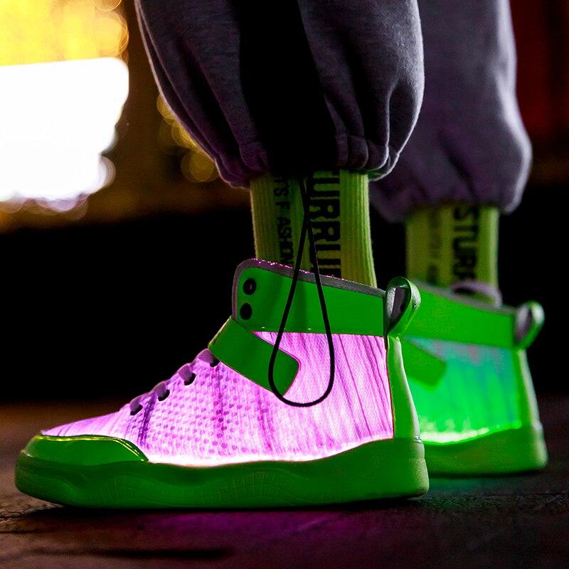 UncleJerry 2020 новые оптоволоконные ботинки, большие мальчики девочки и взрослые, USB перезаряжаемые светящиеся кроссовки, обувь для вечеринок, крутая Уличная обувь