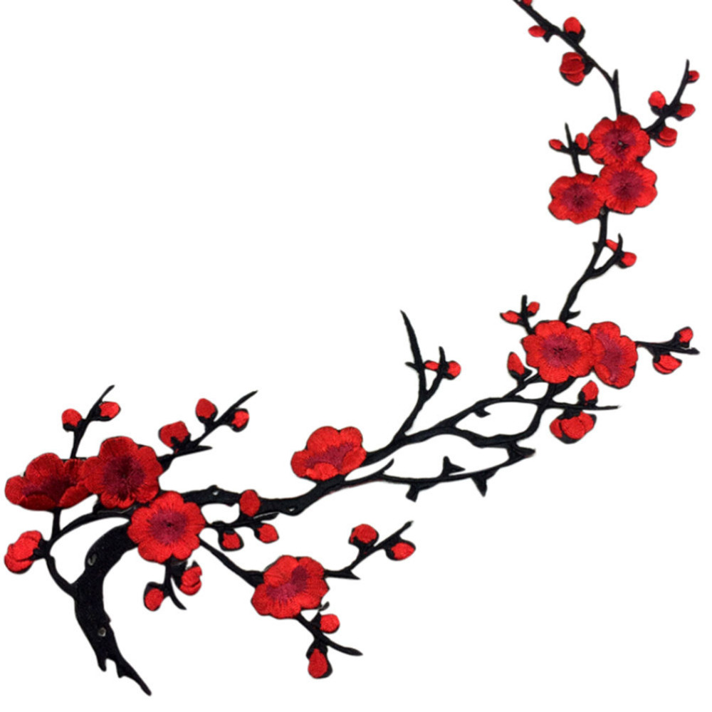 NEW Embroidered Plum Blossom Flower Applique Clothing Embroidery Patch Fabric Sticker Iron On Sew On Patch Craft Wholesale