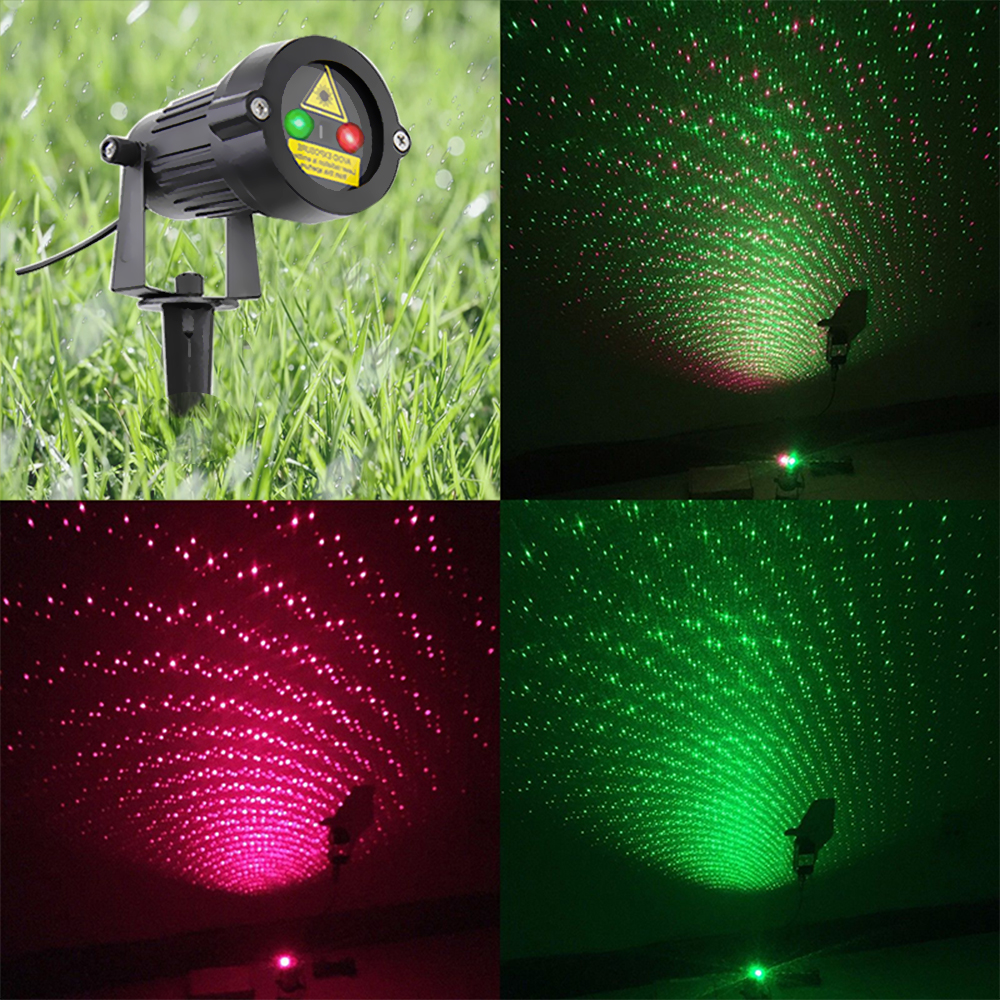Laser Projector Stars Lights Christmas Red Green Static Twinkle With Remote Waterproof Outdoor Garden showers Tree Decoration