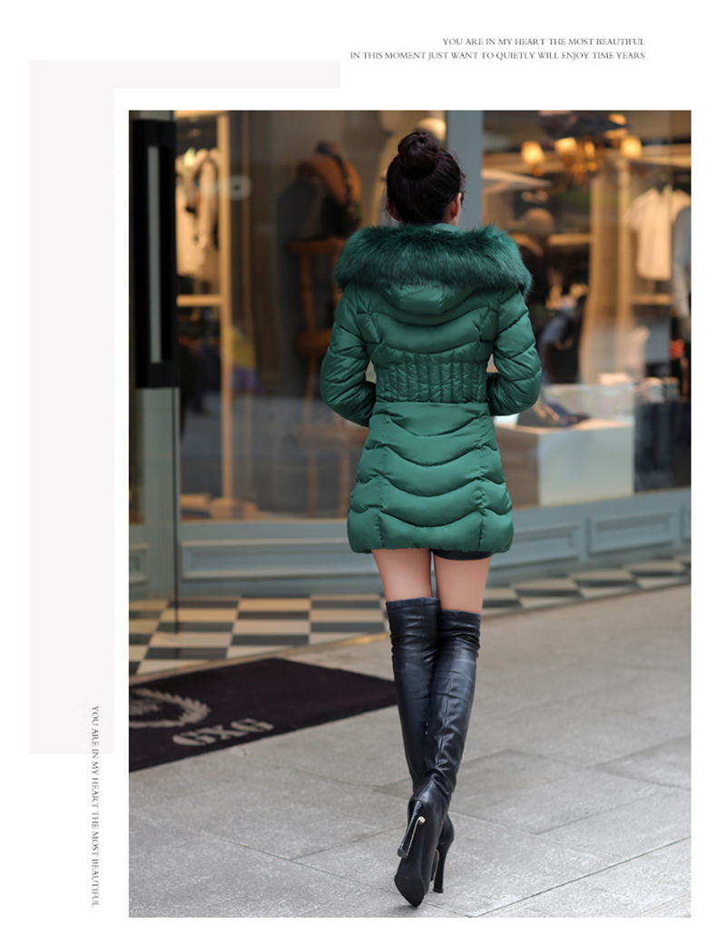 Winter Long Women Coats Parkas Slim Pleated Black Female Coat Outwear Fashion Disassembled Hooded Cotton Women Jackets MLD1271 21