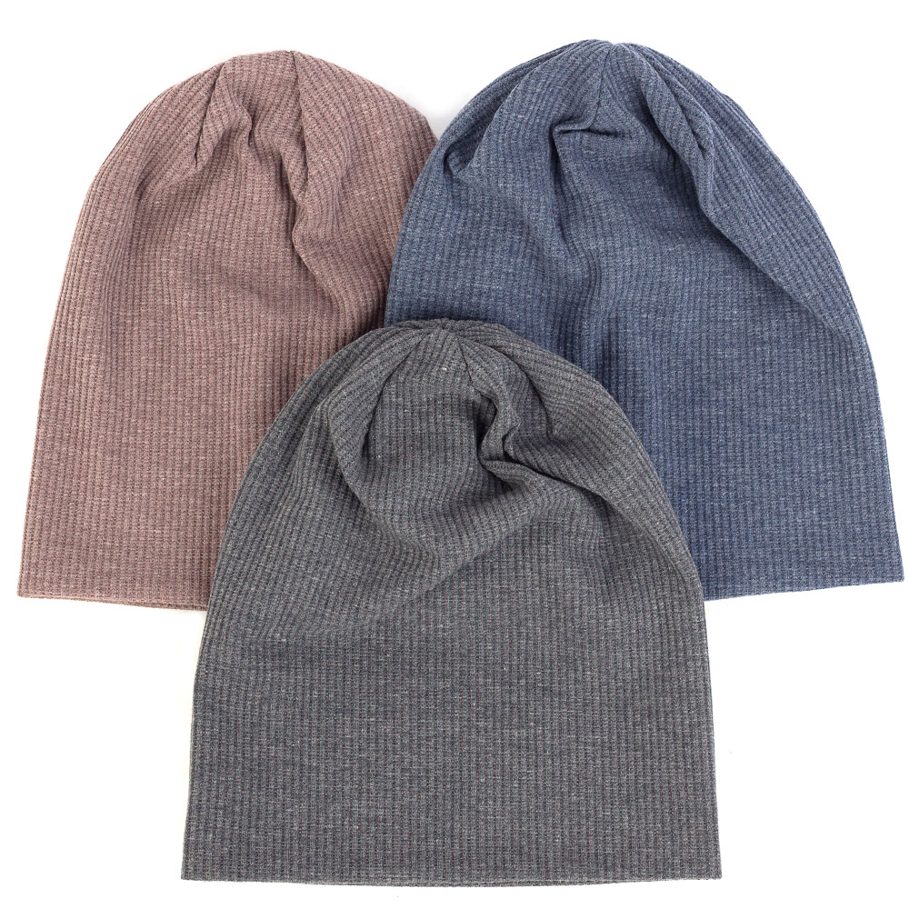 Ribbed Beanie Skull-Cap Knitted Autumn Winter Women Girls Soft Baggy Unisex Warm Boy title=