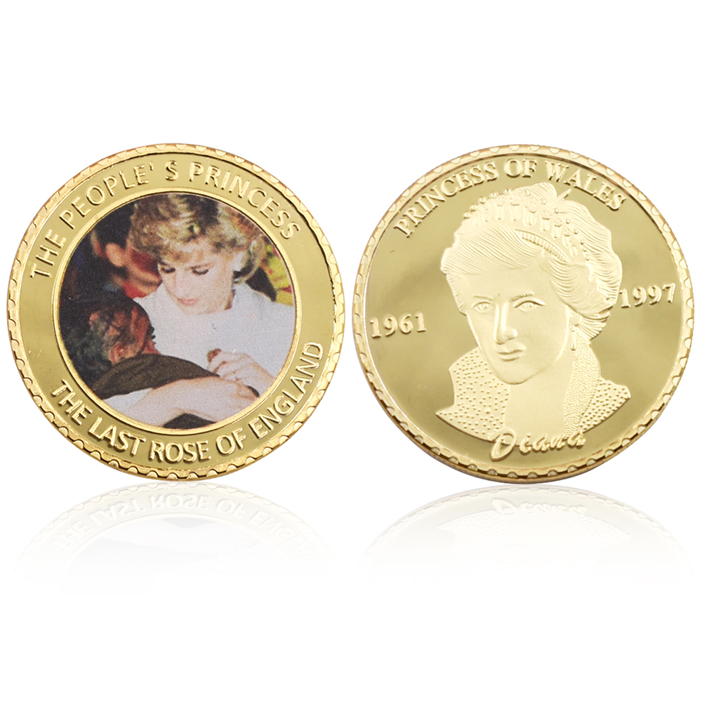 Holiday Gifts 24k Gold Plated Coin Princess Diana 20 Anniversary Challenge Coin