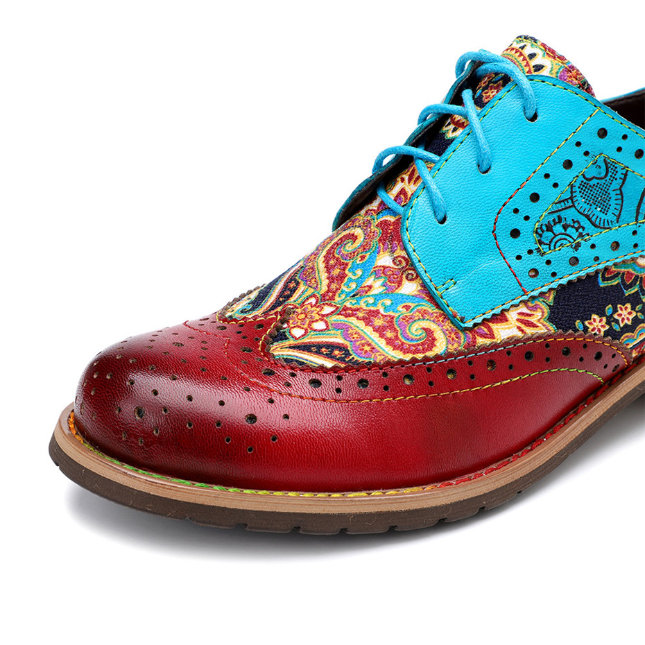2020 New Spring Casual Women Brogues Shoes Handmade Genuine Leather Women Flats Oxfords Shoes Retro Carved Lace Up  Lady Oxfords (10)