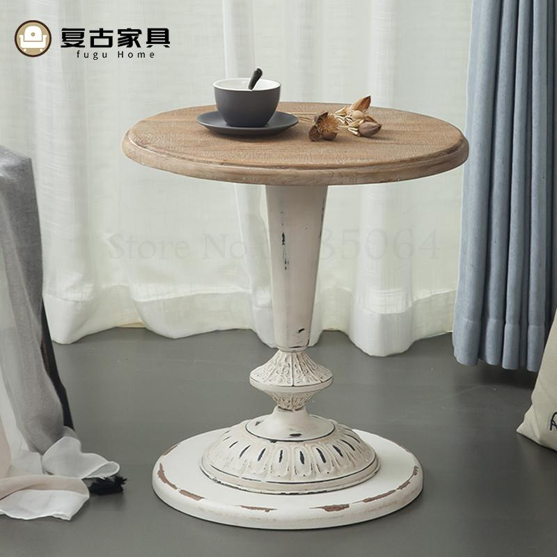 Nordic Homestay Retro Old Solid Wood Round Table Coffee Table Modern Minimalist Creative Living Room Home Small Apartment Multif