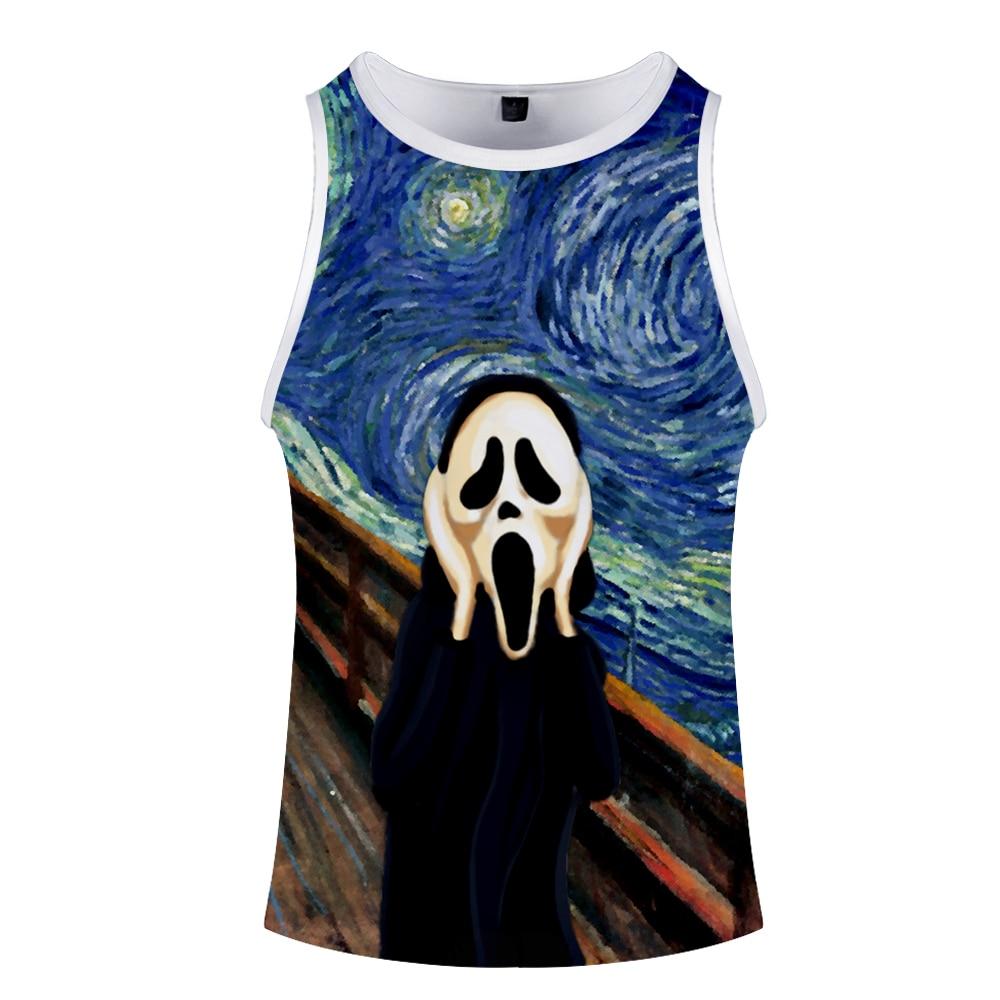 World famous painting art Tank Tops 3D Print Funny Mens Clothes Sleeveless Stringer Vest