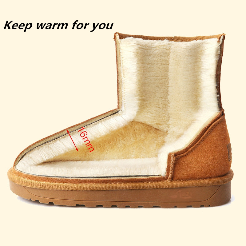 ZUZI Brand Winter Men And Women Snow Boots Australia Style Genuine Leather Ankle Boots Women Waterproof Warm Short Shoes