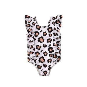 OH WHY 3Pcs Kids Baby Girls Leopard Off-Shoulder Bow Bikini Set Bathing Suit