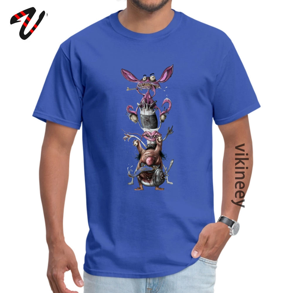 AHHH REAL Monsters Company Men T Shirt Round Neck Short Sleeve 100% Cotton Fabric Tops & Tees Casual Tops T Shirt AHHH REAL Monsters 2644 blue